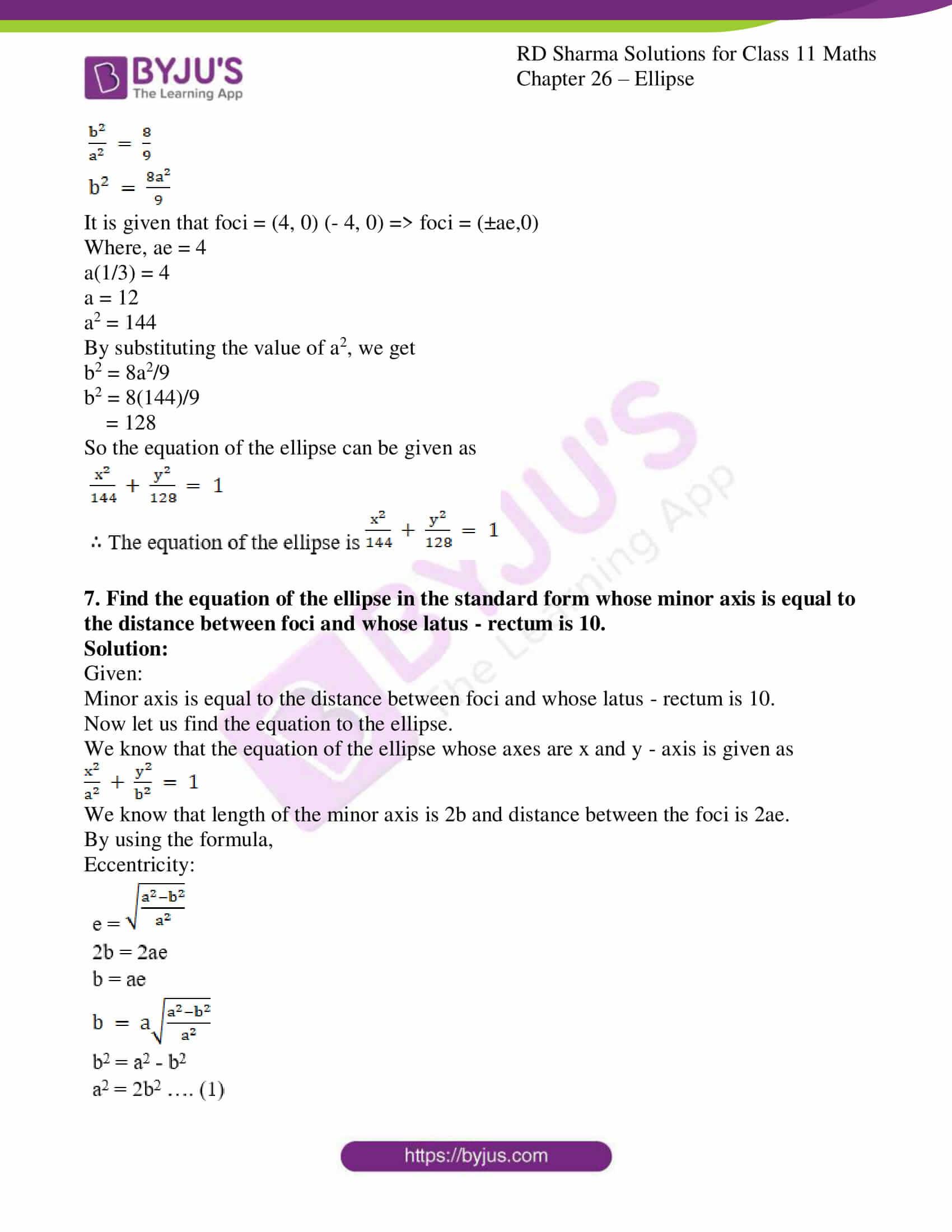 rd sharma class 11 maths ch 26 ellipse 16