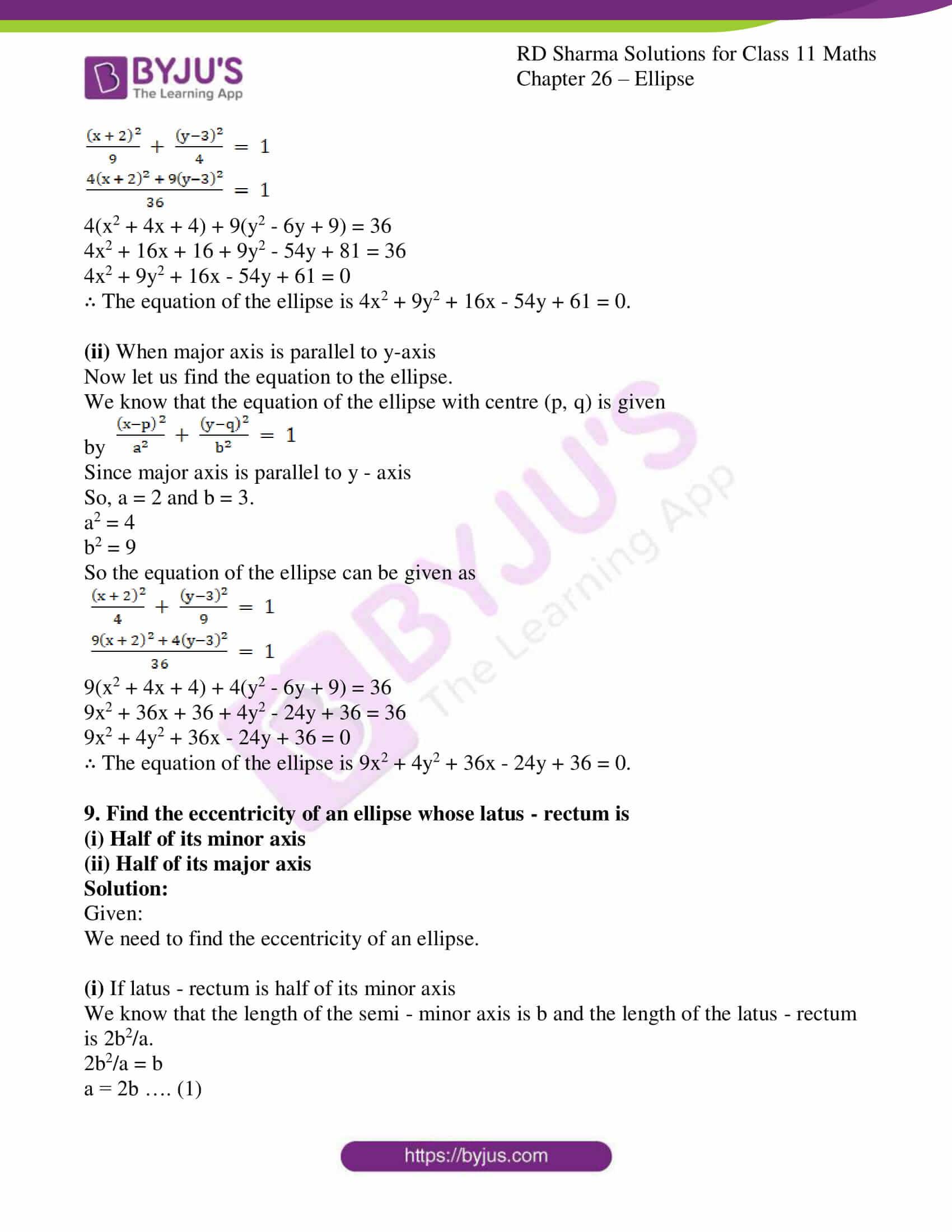 rd sharma class 11 maths ch 26 ellipse 18