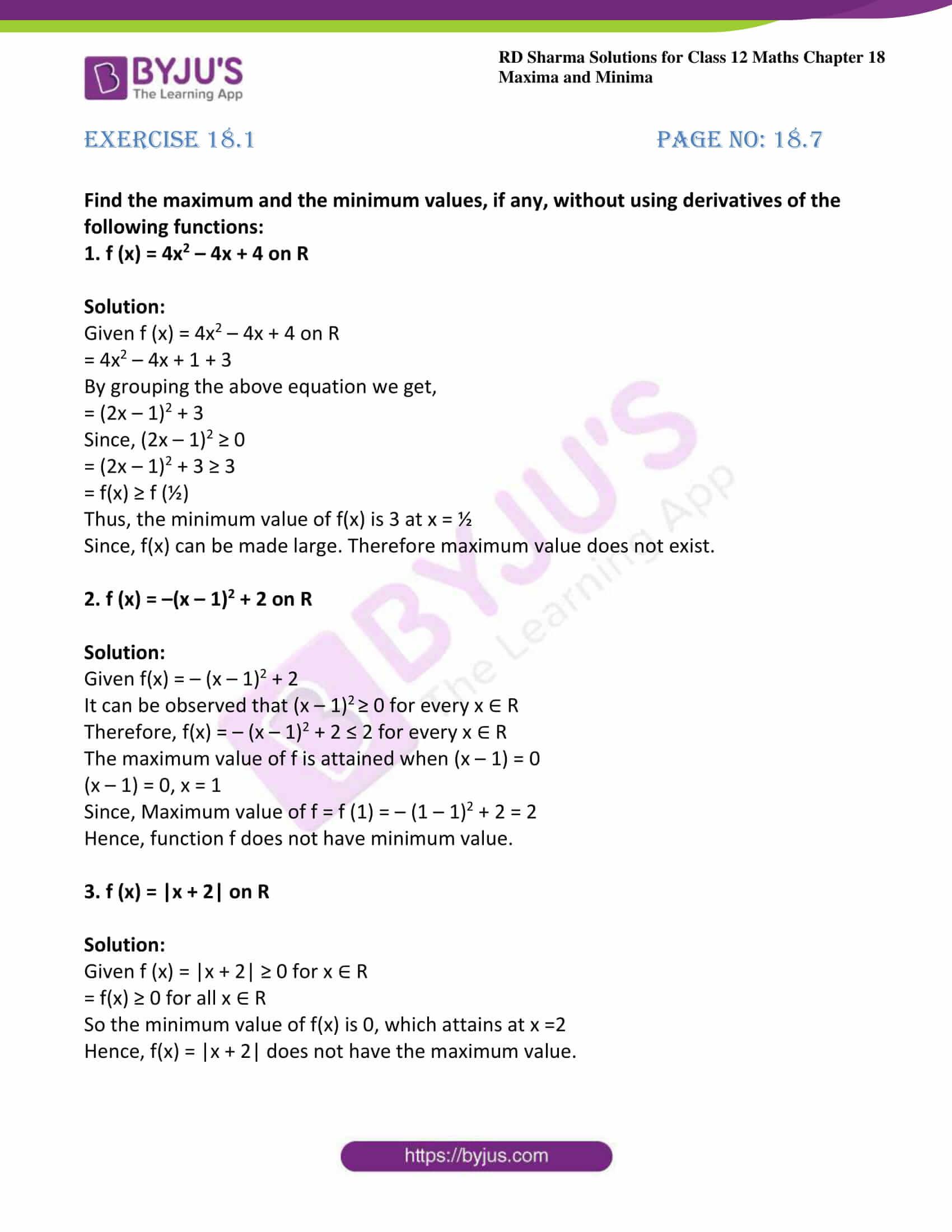 rd sharma class 12 maths sol chap 18 ex 1 1