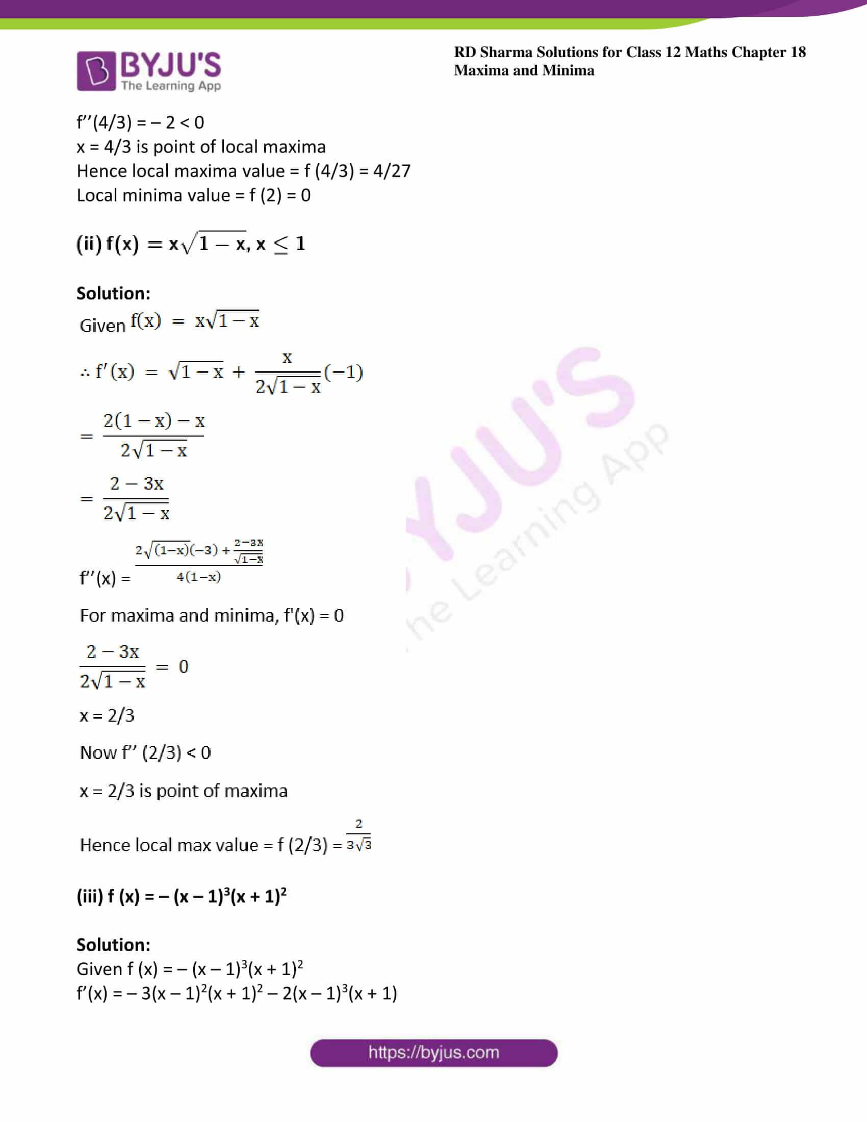 rd sharma class 12 maths sol chap 18 ex 3 4