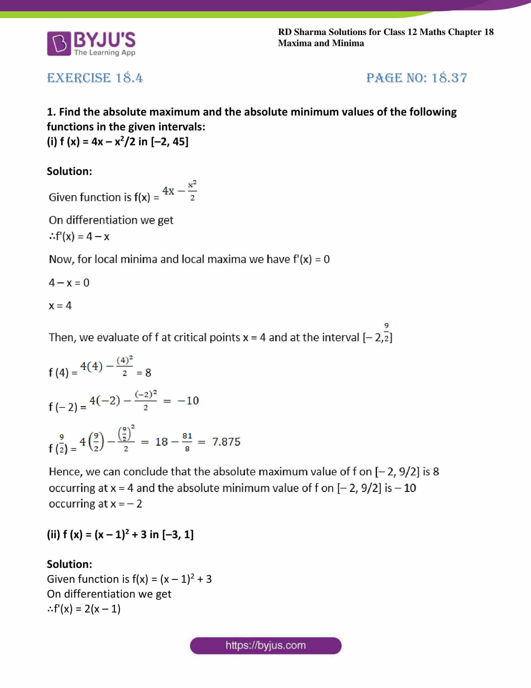 rd sharma class 12 maths sol chap 18 ex 4 1