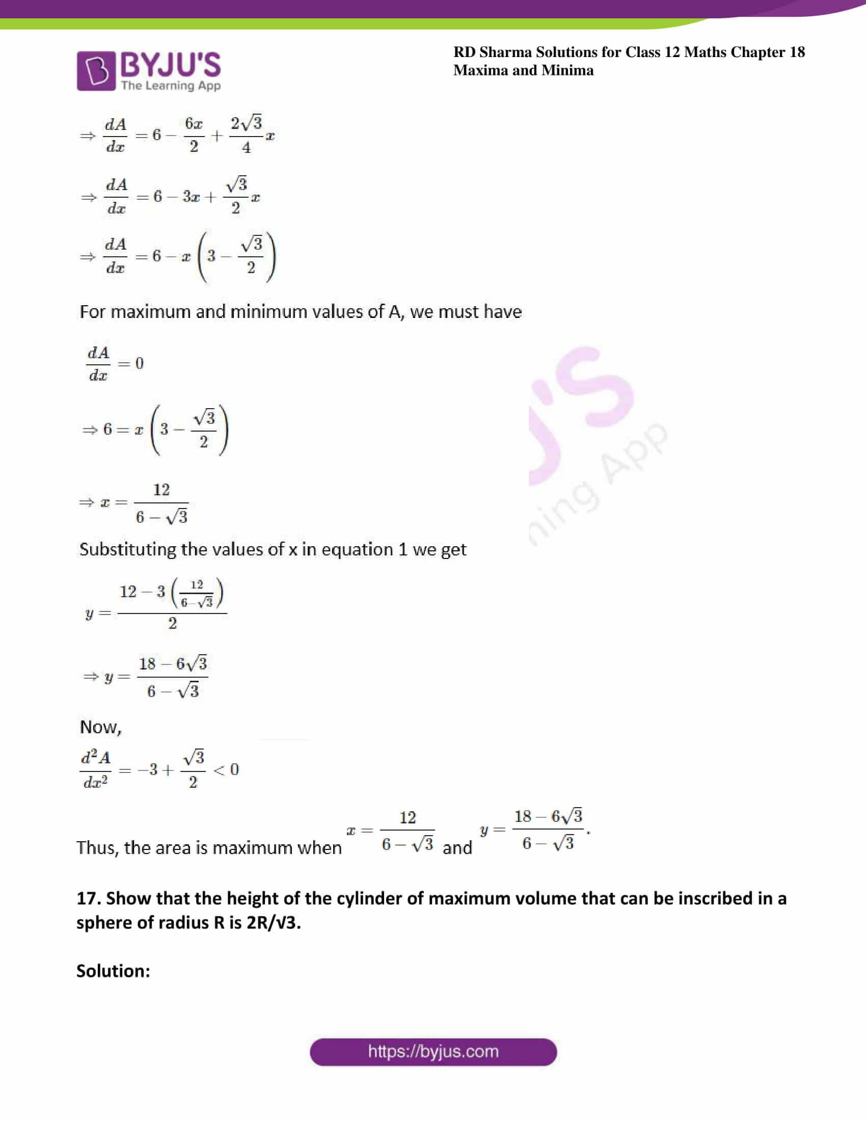 rd sharma class 12 maths sol chap 18 ex 5 22