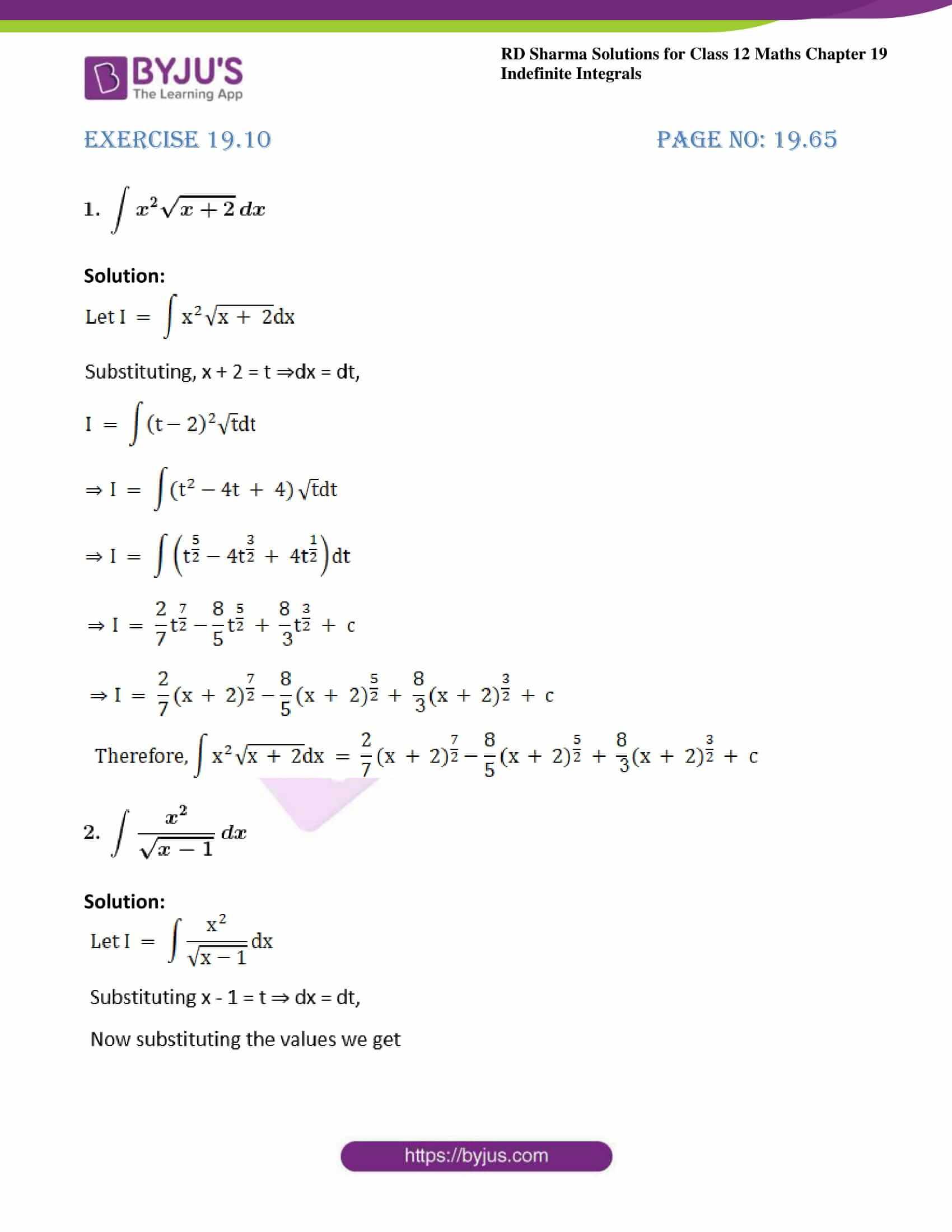 rd sharma class 12 maths sol chap 19 ex 10 1