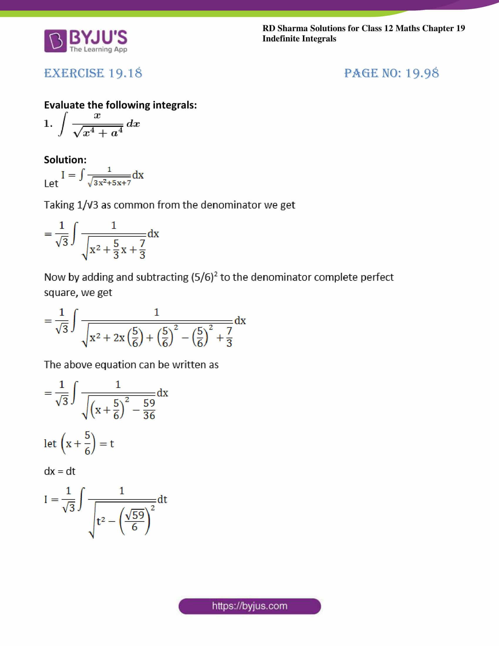 rd sharma class 12 maths sol chap 19 ex 18 1
