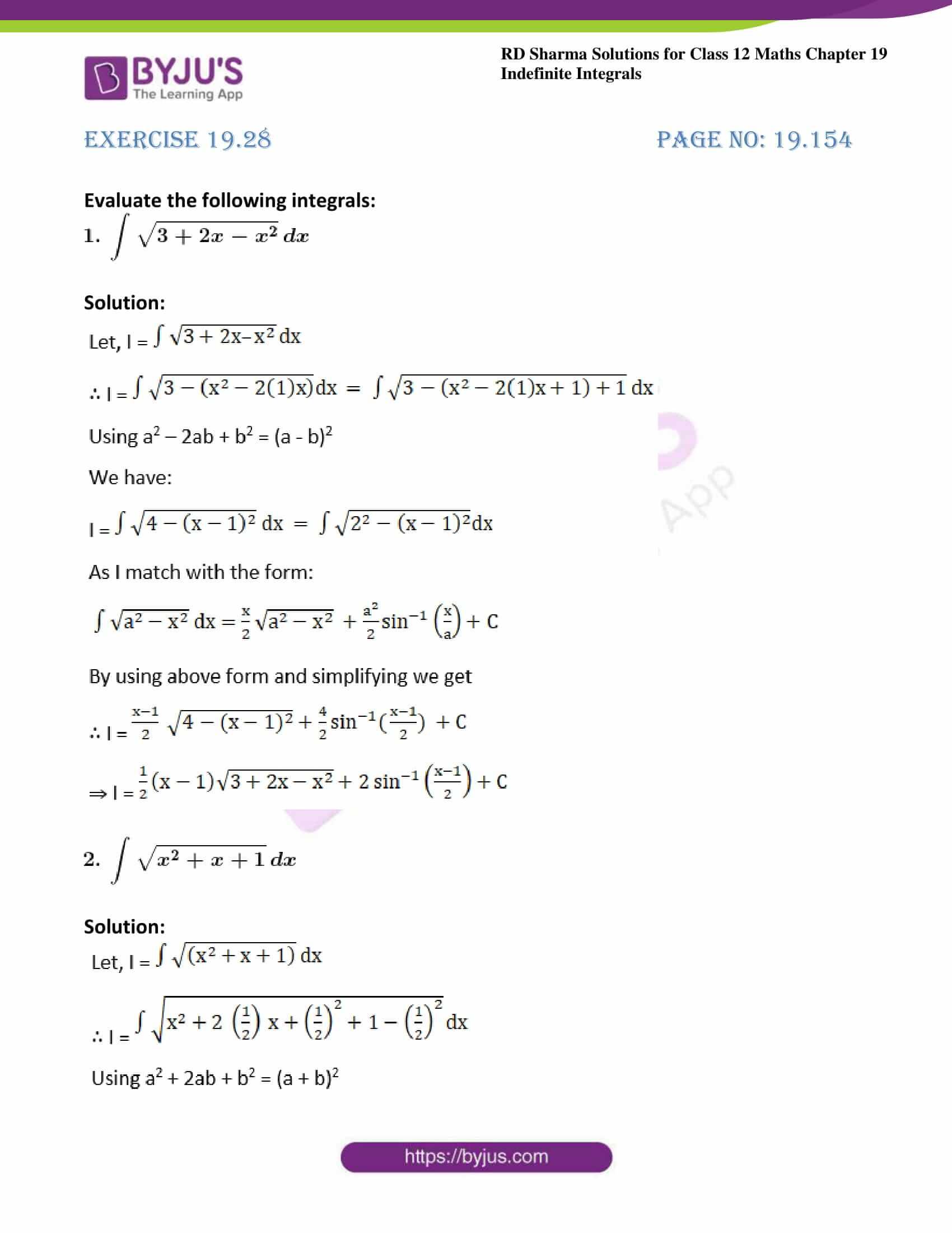 rd sharma class 12 maths sol chap 19 ex 28 1