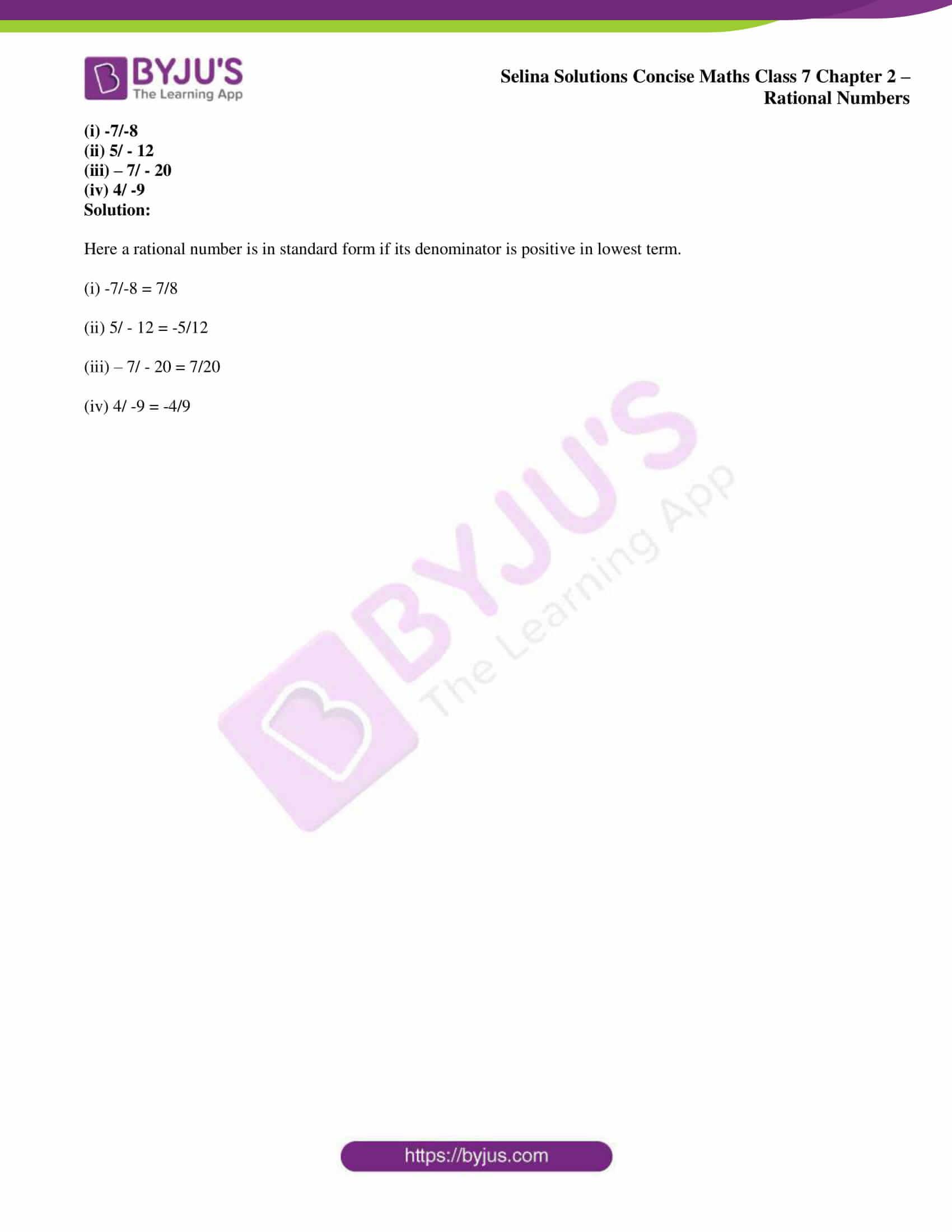 selina sol concise maths class 7 ch2 ex 2a 8
