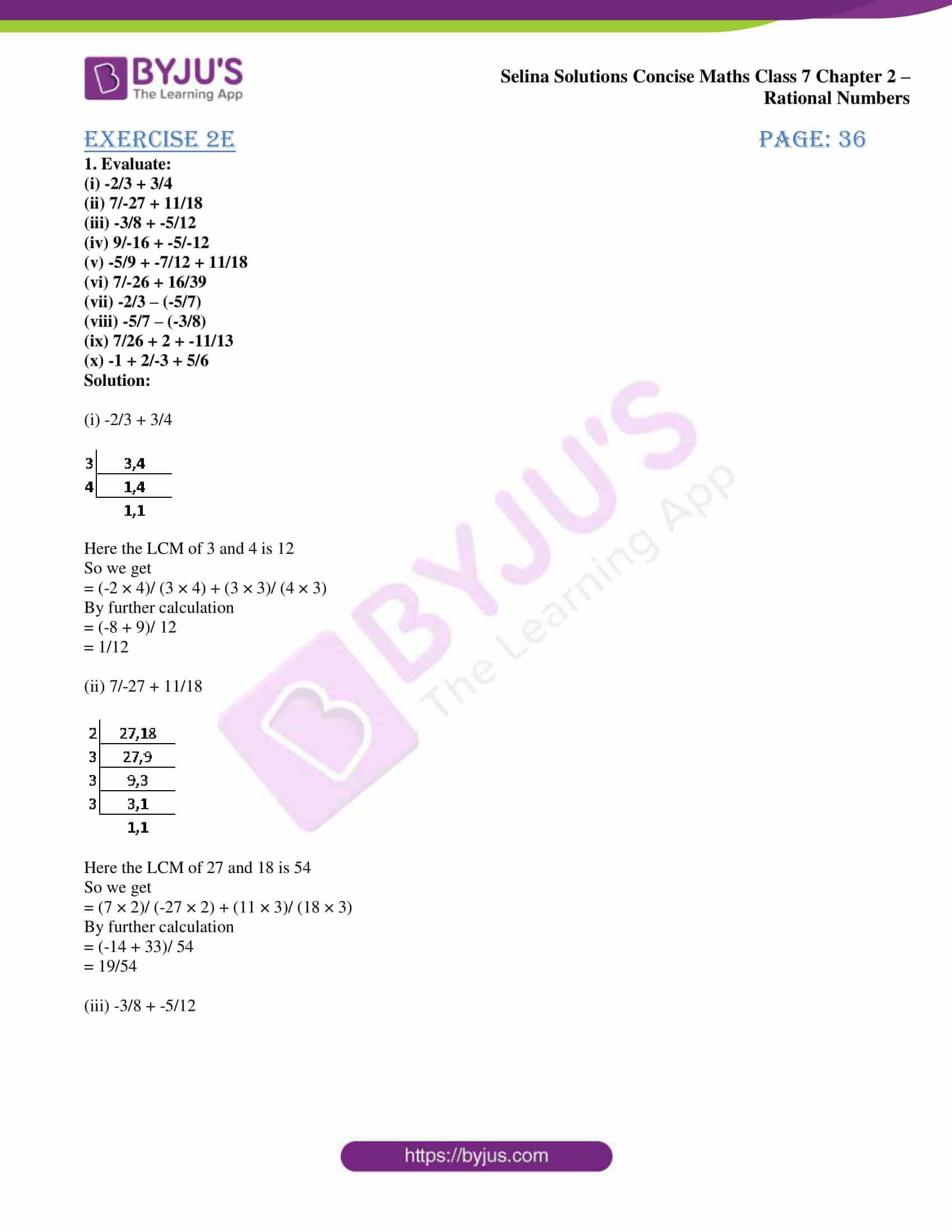 selina sol concise maths class 7 ch2 ex 2e 1