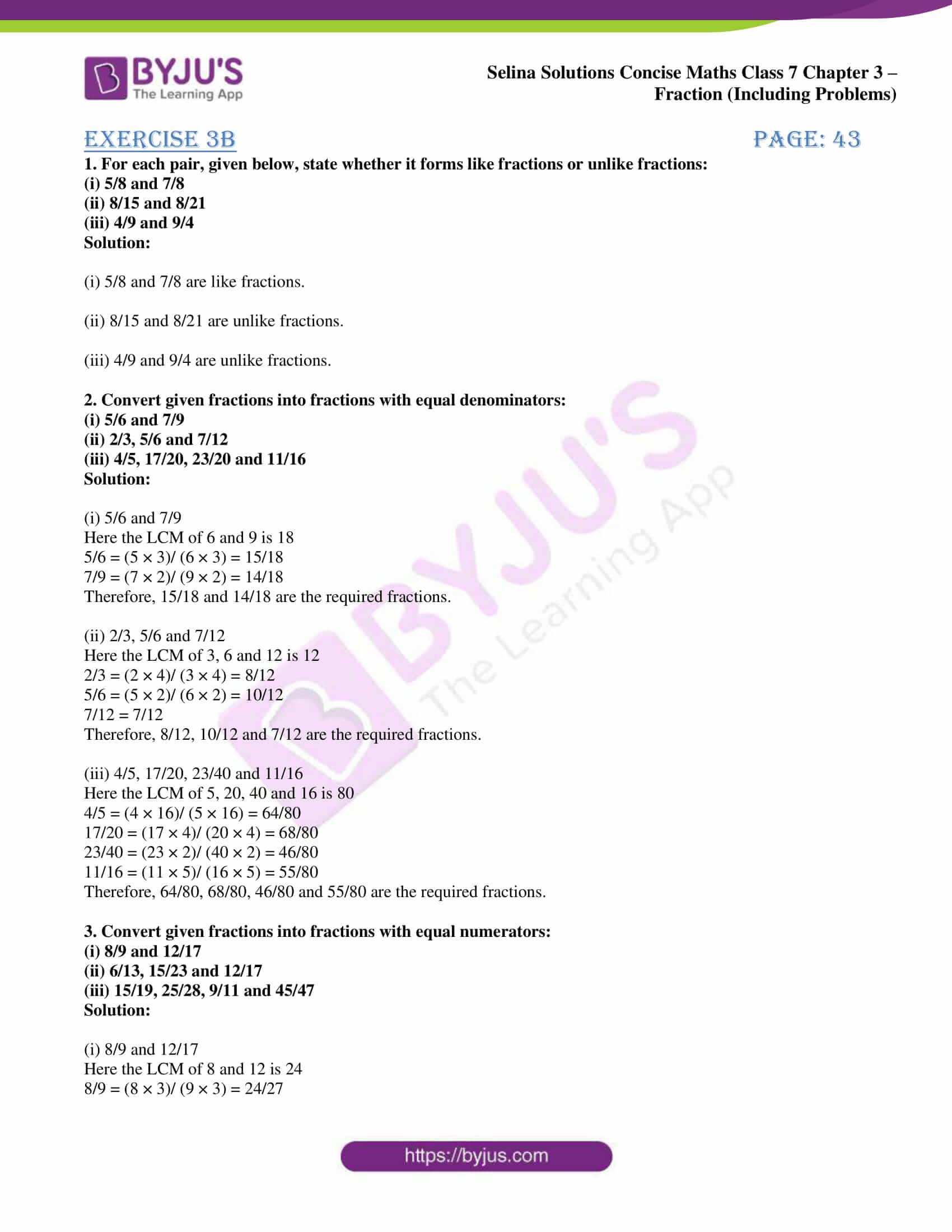 selina sol concise maths class 7 ch3 ex 3b 1