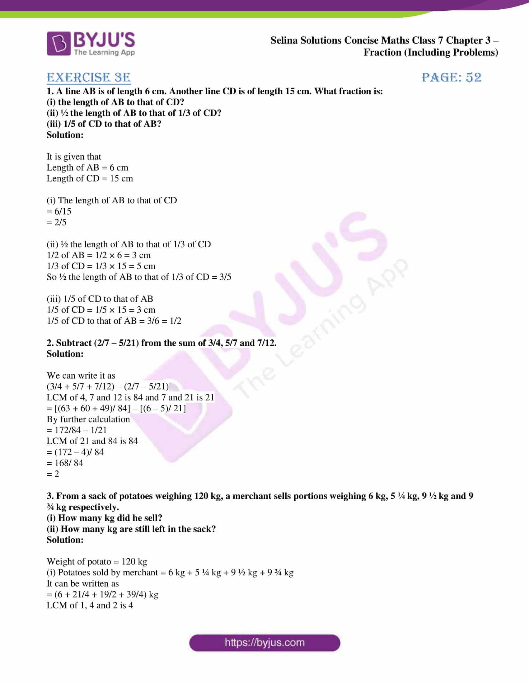 selina sol concise maths class 7 ch3 ex 3e 1