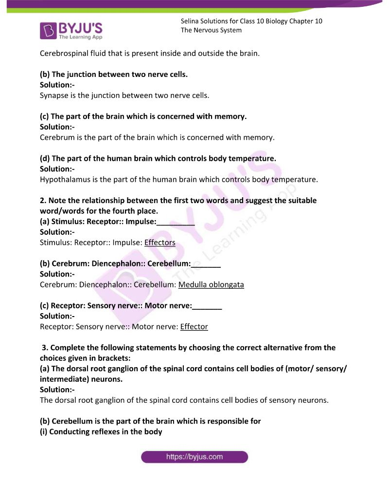 Selina Solutions For Class 10 Biology Chapter 10 The Nervous System 1
