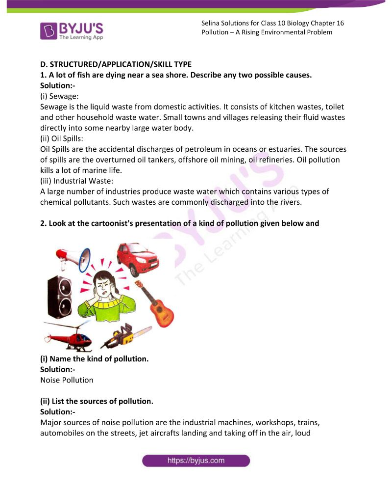 Selina Solutions For Class 10 Biology Chapter 16 Pollution A Rising Environmental Problem 4