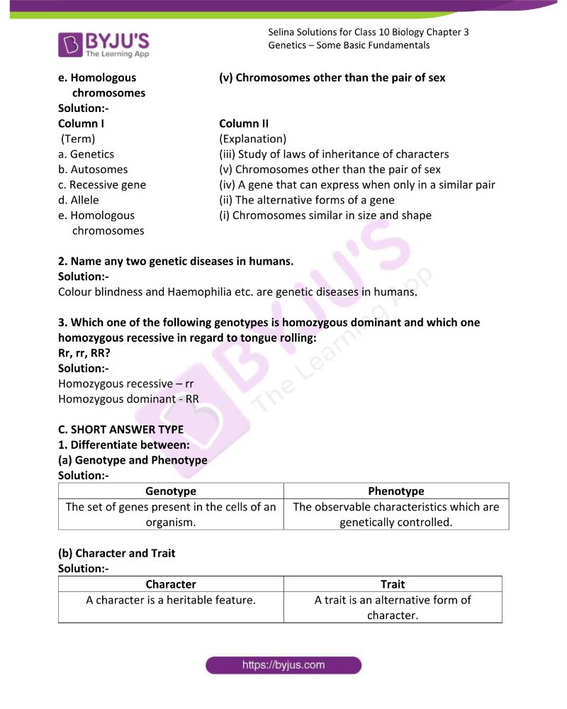 Selina Solutions For Class 10 Biology Chapter 3 Genetics Some Basic Fundamentals 1