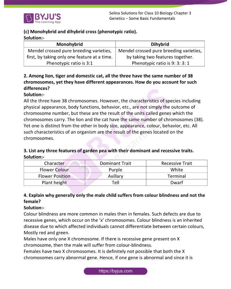 Selina Solutions For Class 10 Biology Chapter 3 Genetics Some Basic Fundamentals 2