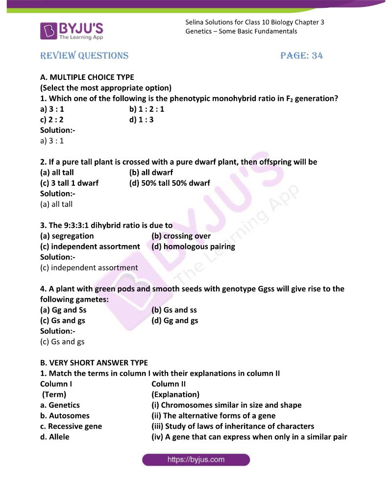 Selina Solutions For Class 10 Biology Chapter 3 Genetics Some Basic Fundamentals