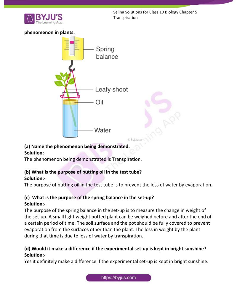 Selina Solutions For Class 10 Biology Chapter 5 Transpiration 11
