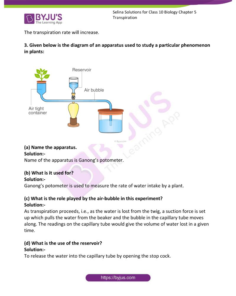 Selina Solutions For Class 10 Biology Chapter 5 Transpiration 12