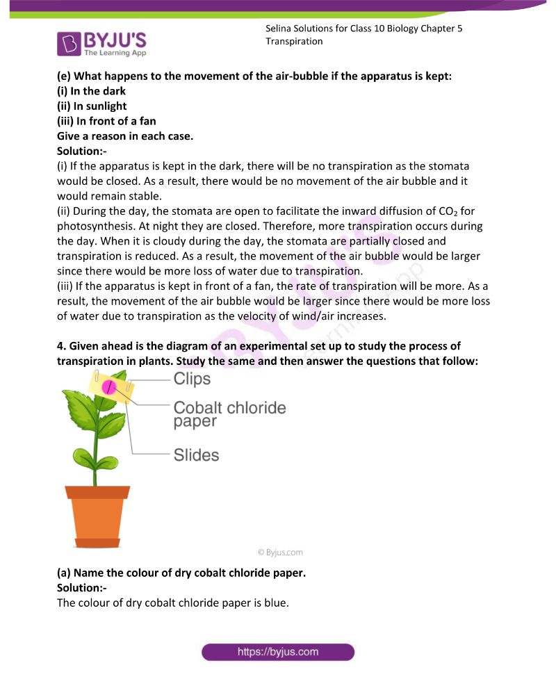 Selina Solutions For Class 10 Biology Chapter 5 Transpiration 13