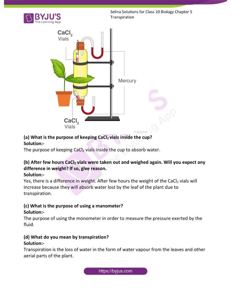 Selina Solutions For Class 10 Biology Chapter 5 Transpiration 15