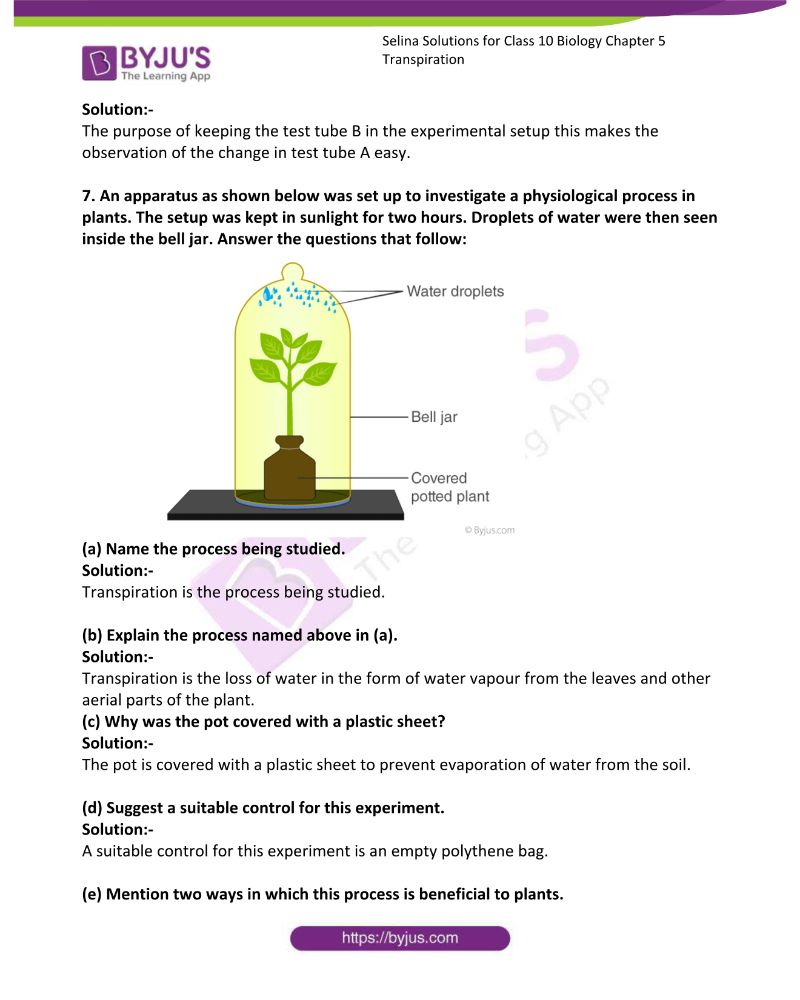 Selina Solutions For Class 10 Biology Chapter 5 Transpiration 17