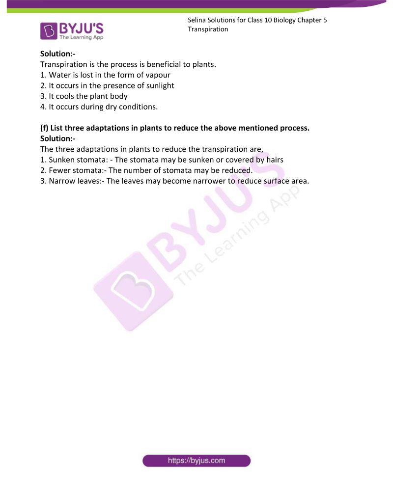 Selina Solutions For Class 10 Biology Chapter 5 Transpiration 18