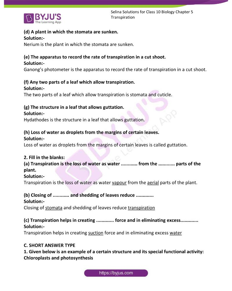 Selina Solutions For Class 10 Biology Chapter 5 Transpiration 2