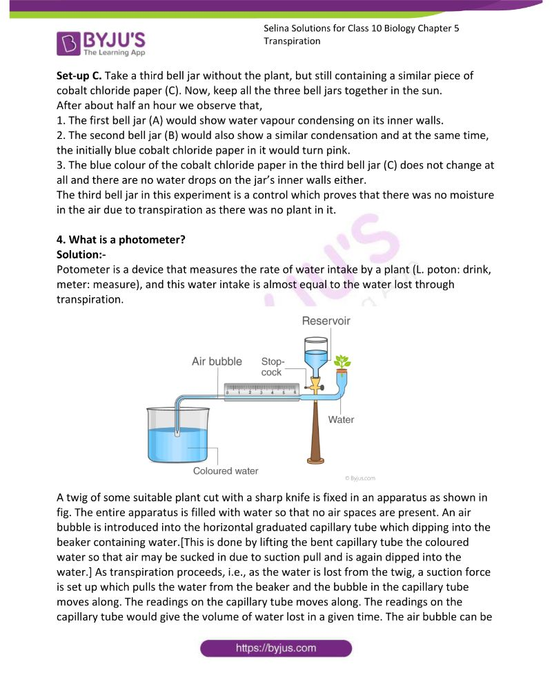 Selina Solutions For Class 10 Biology Chapter 5 Transpiration 8
