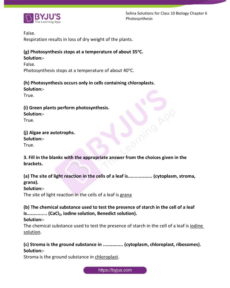 Selina Solutions For Class 10 Biology Chapter 6 Photosynthesis 5