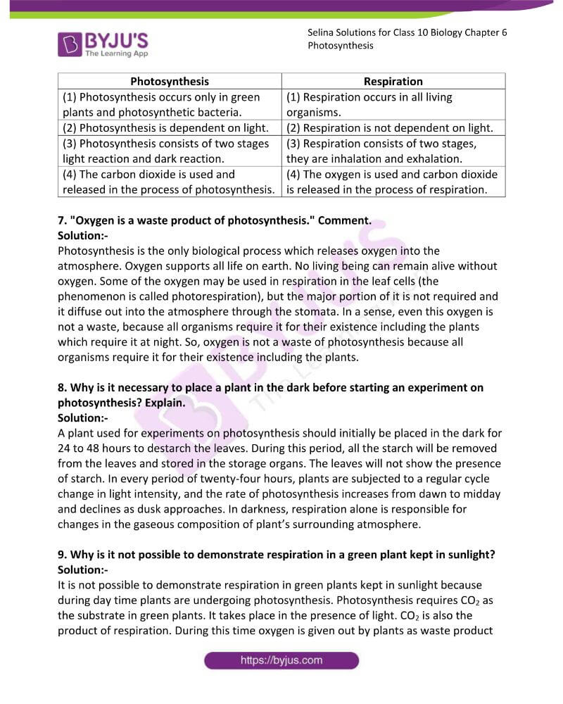 Selina Solutions For Class 10 Biology Chapter 6 Photosynthesis 8