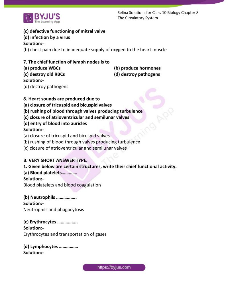 Selina Solutions For Class 10 Biology Chapter 8 The Circulatory System 1