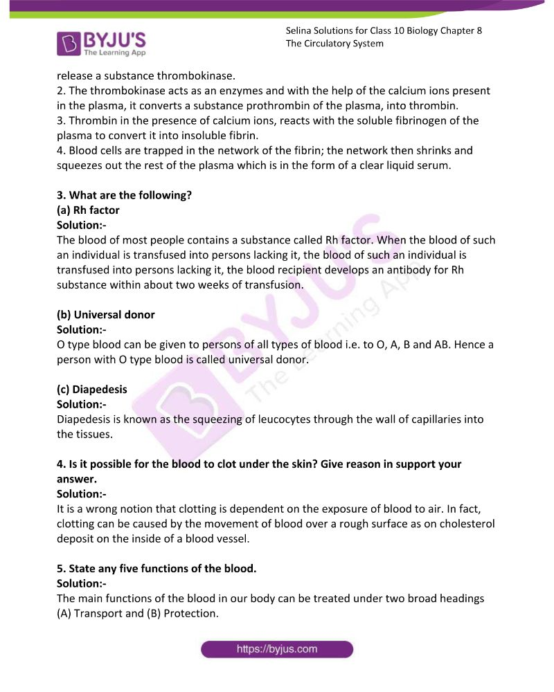 Selina Solutions For Class 10 Biology Chapter 8 The Circulatory System 9