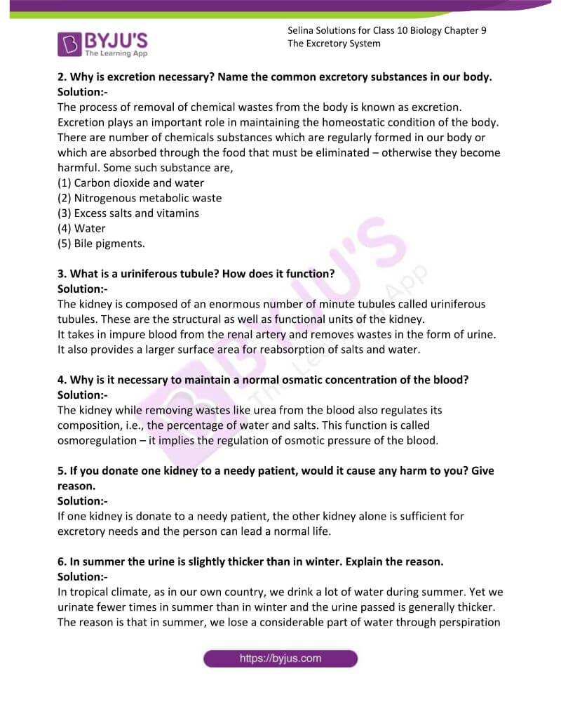 Selina Solutions For Class 10 Biology Chapter 9 The Excretory System 3