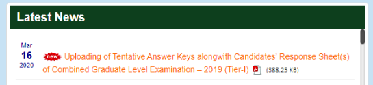 SSC CGL Answer Key 2019 Notification