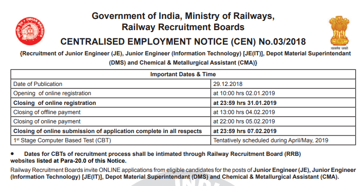 RRB JE Notification 2018 - JE Recruitment 2018-2019 exam