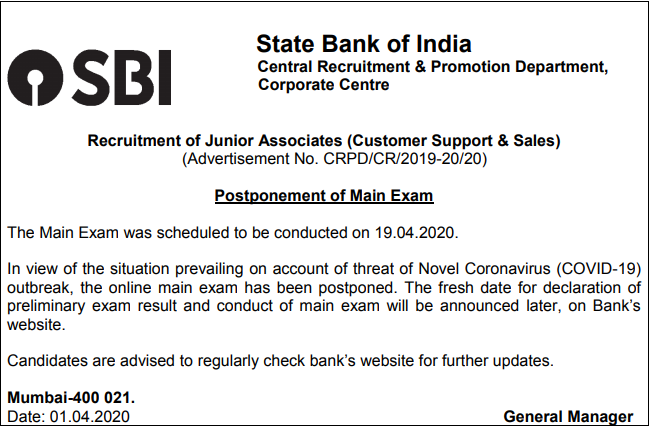 SBI Clerk 2020 - Mains Exam Postponed