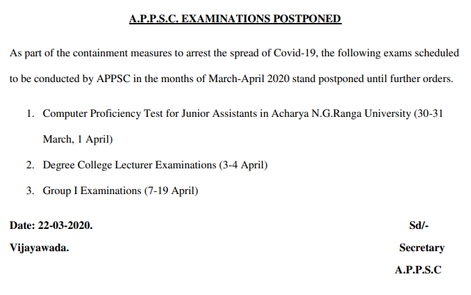 APPSC Latest Notification - APPSC Group 1 Examination Postponed