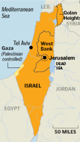Map showing Israel
