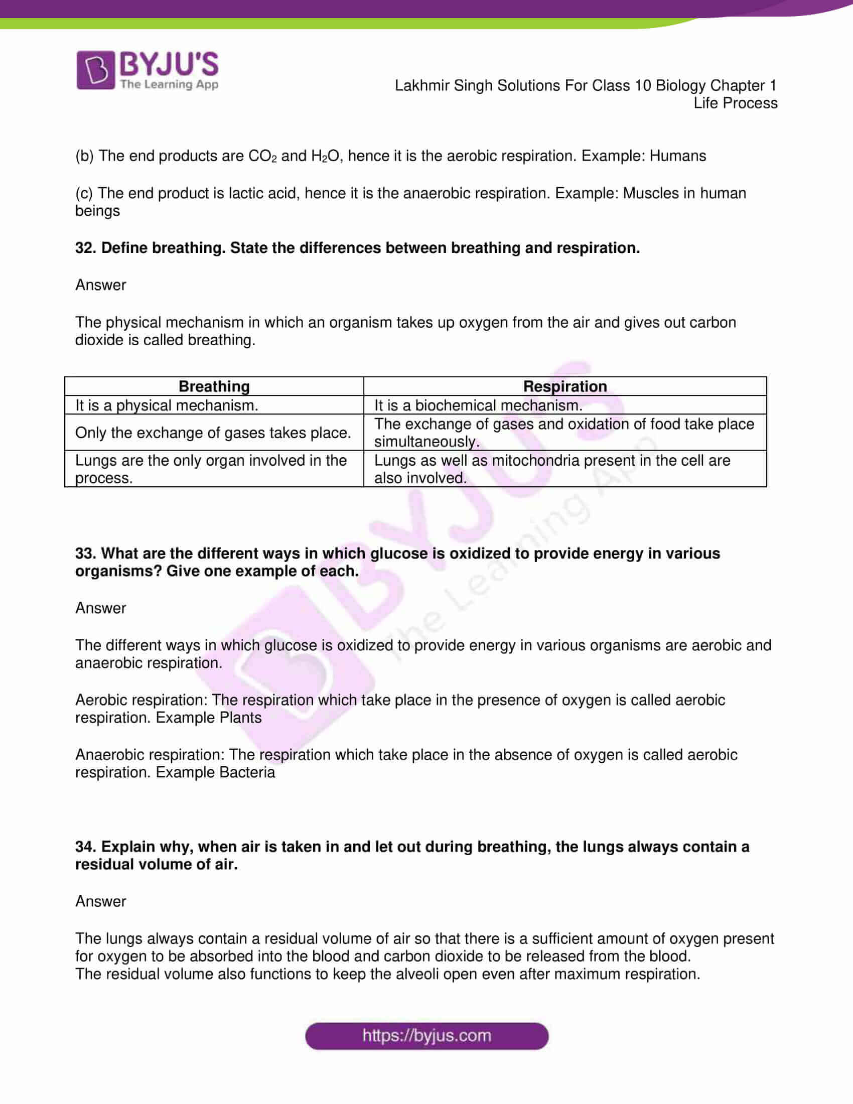 Lakhmir Singh Biology Class 10 Solutions For Chapter 1 Life Process Free Pdf