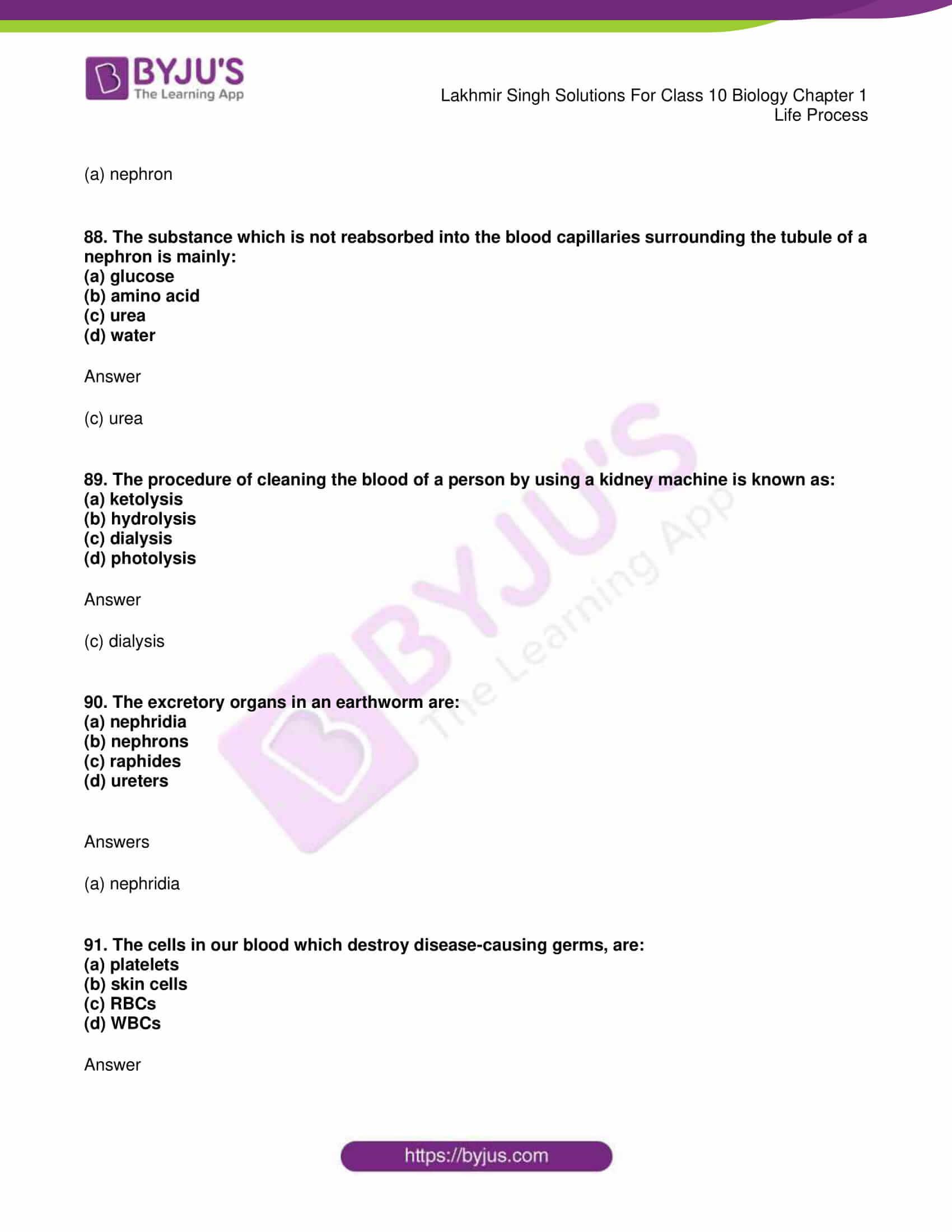 lakhmir singh sol class 10 biology chapter 1 88