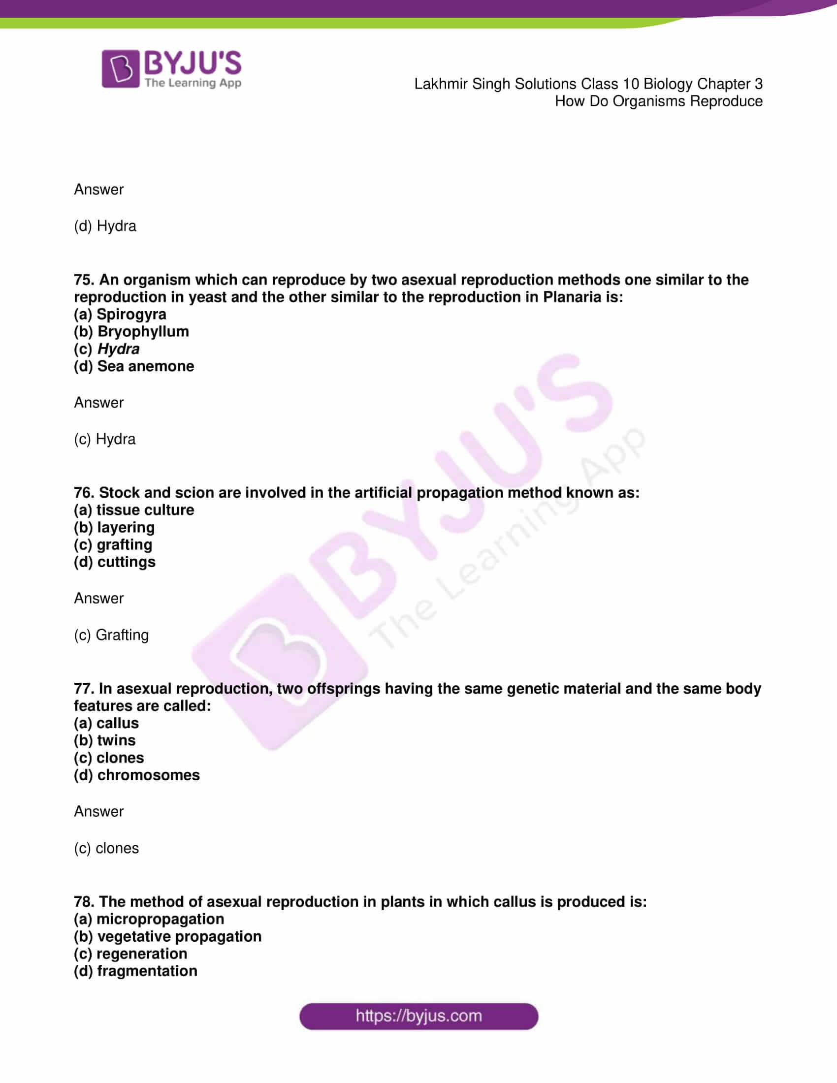 lakhmir singh solutions class 10 biology chapter 3 26