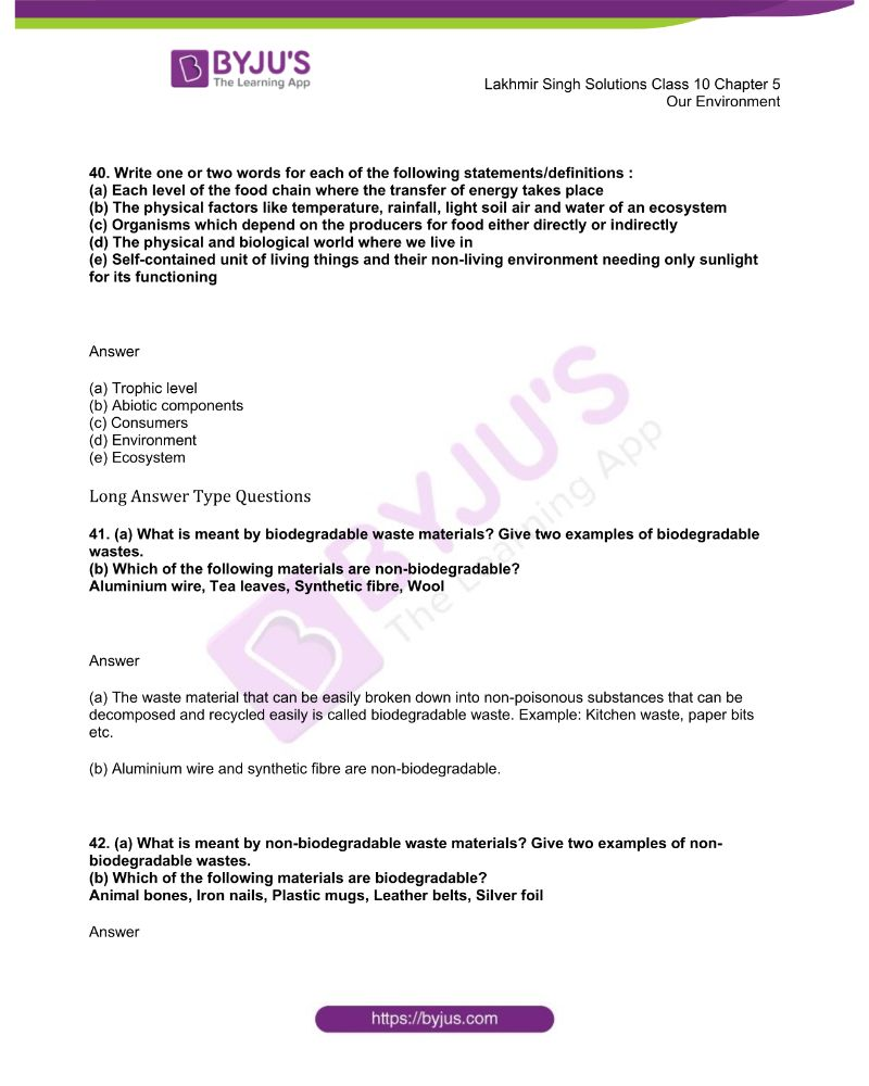 Lakhmir Singh Solutions Class 10 Biology Chapter 5 Our Environment 10