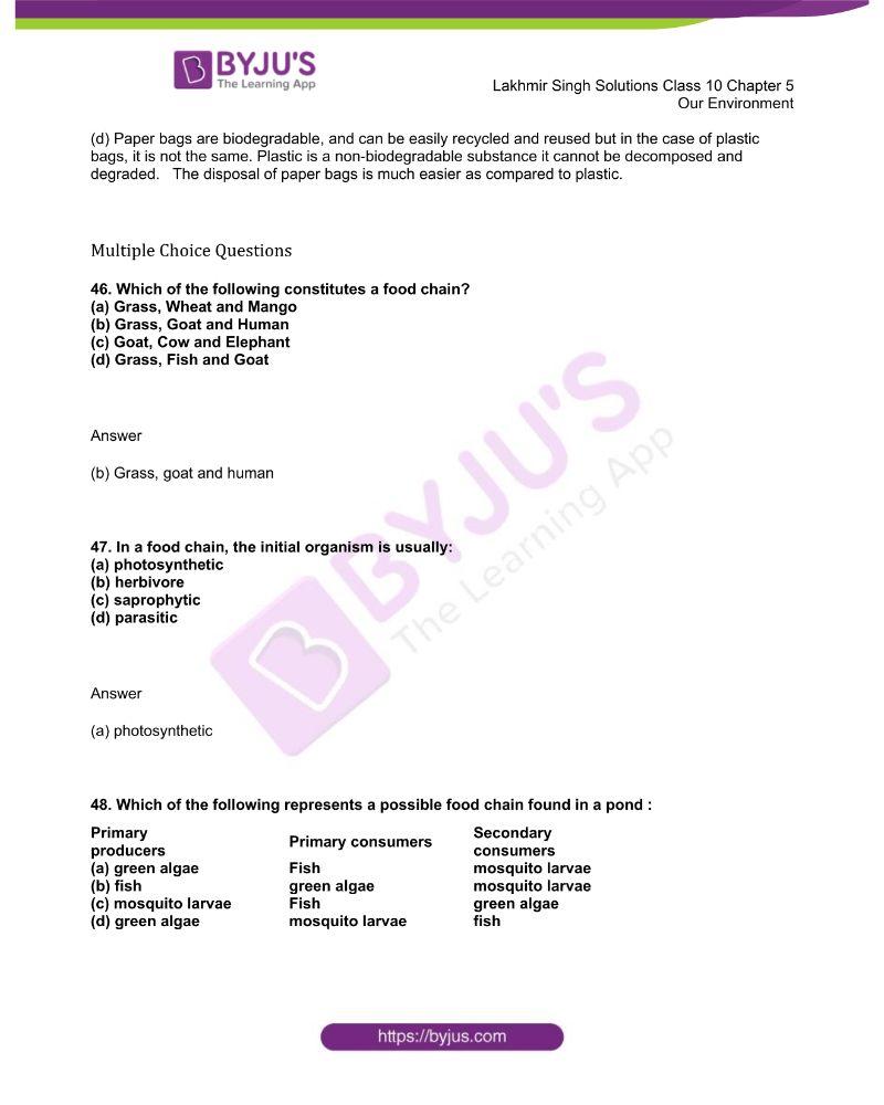Lakhmir Singh Solutions Class 10 Biology Chapter 5 Our Environment 13