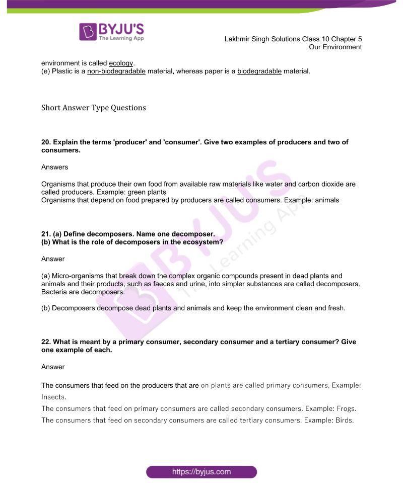 Lakhmir Singh Solutions Class 10 Biology Chapter 5 Our Environment 4
