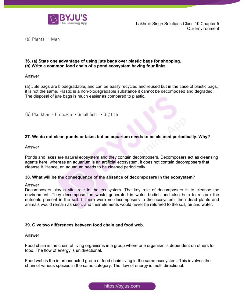 Lakhmir Singh Solutions Class 10 Biology Chapter 5 Our Environment 9