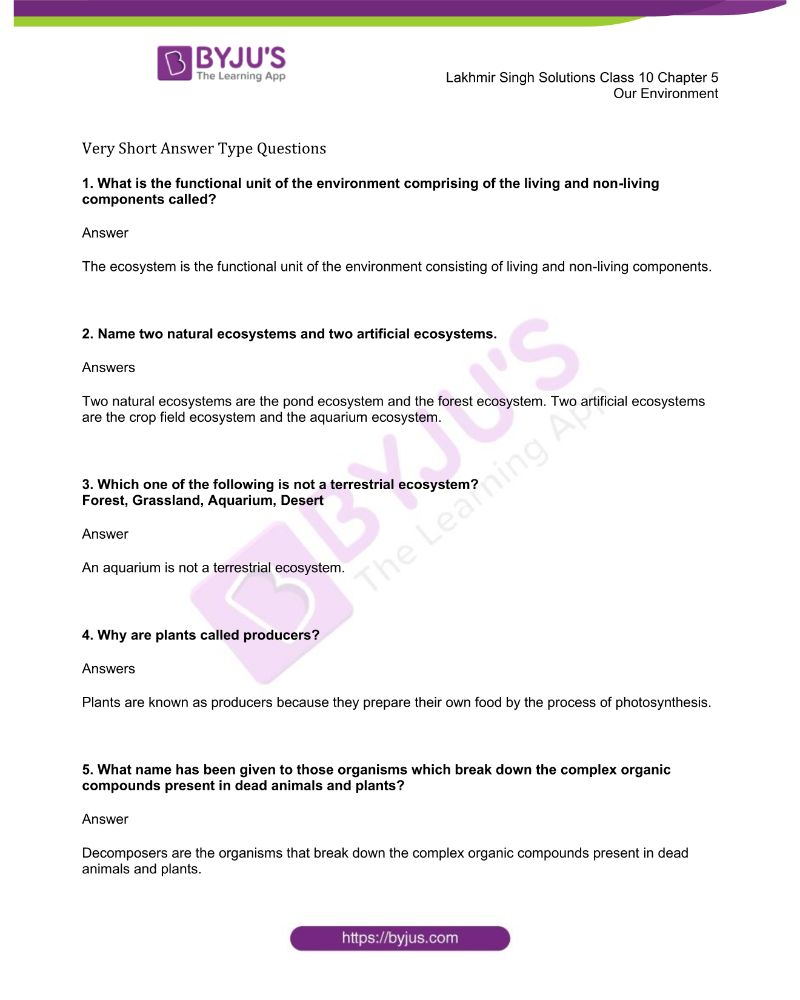 Lakhmir Singh Solutions Class 10 Biology Chapter 5 Our Environment