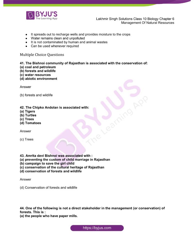 Lakhmir Singh Solutions Class 10 Biology Chapter 6 Management Of Natural Resources 10