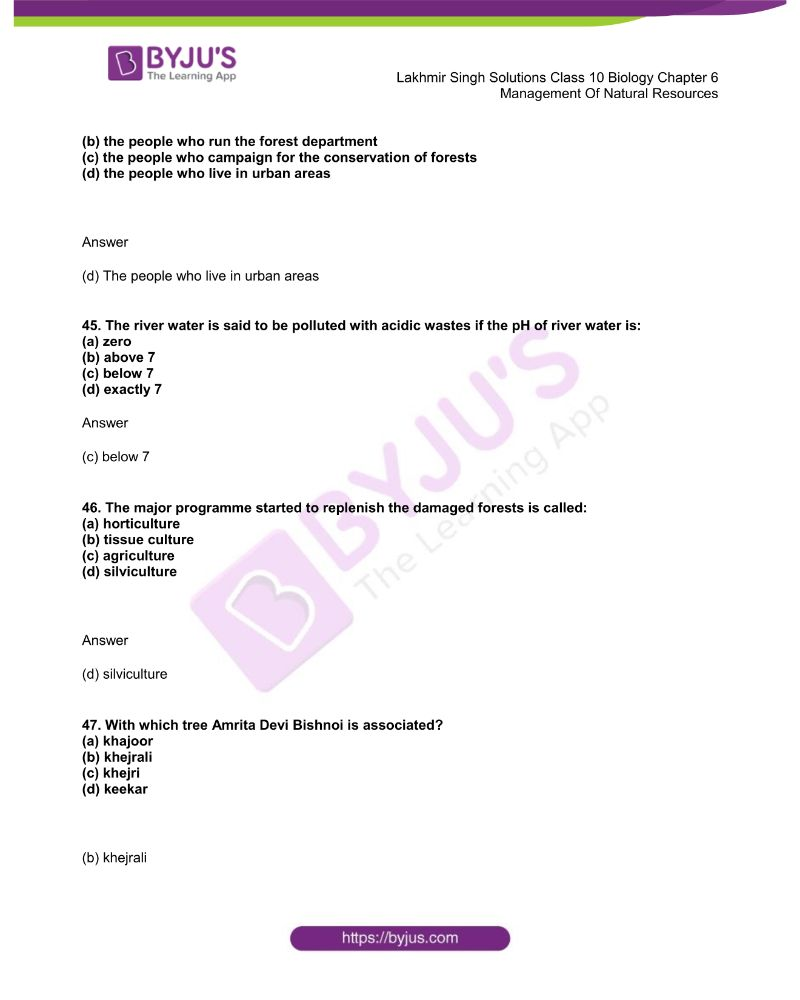 Lakhmir Singh Solutions Class 10 Biology Chapter 6 Management Of Natural Resources 11