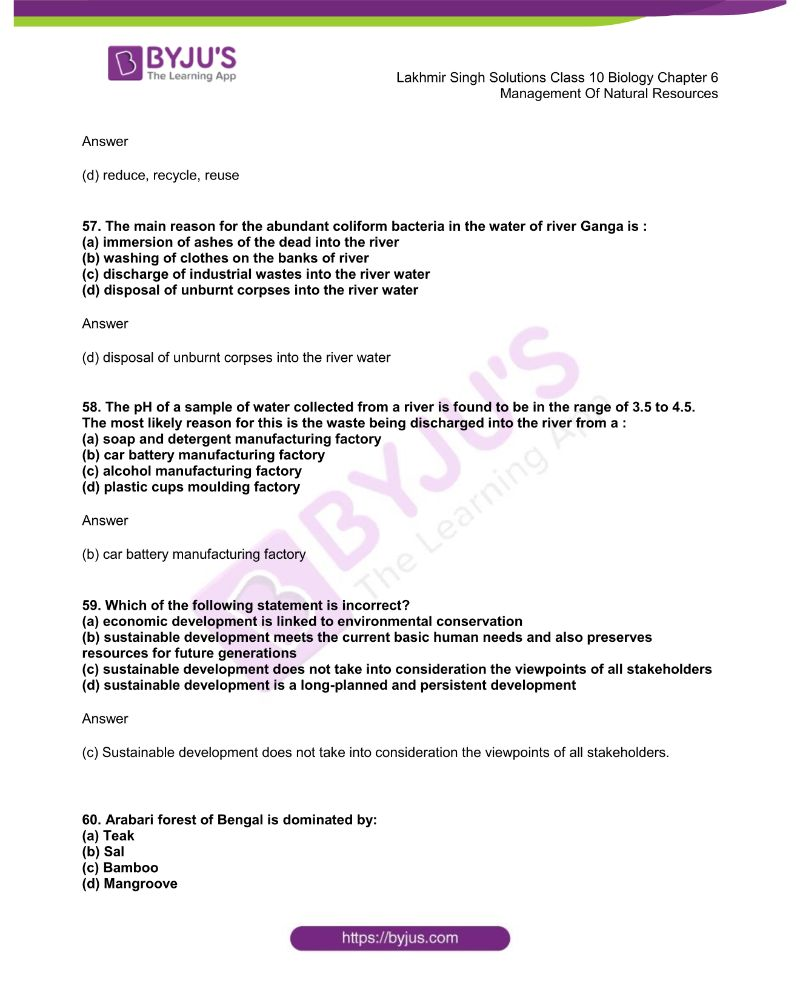 Lakhmir Singh Solutions Class 10 Biology Chapter 6 Management Of Natural Resources 14