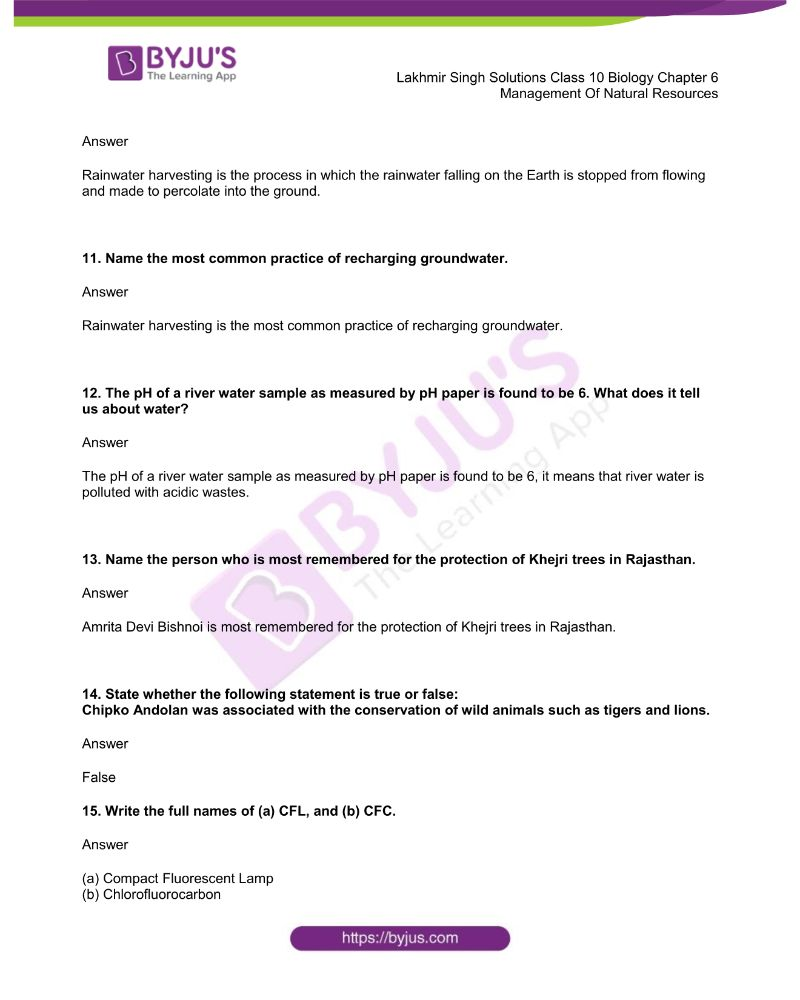Lakhmir Singh Solutions Class 10 Biology Chapter 6 Management Of Natural Resources 2