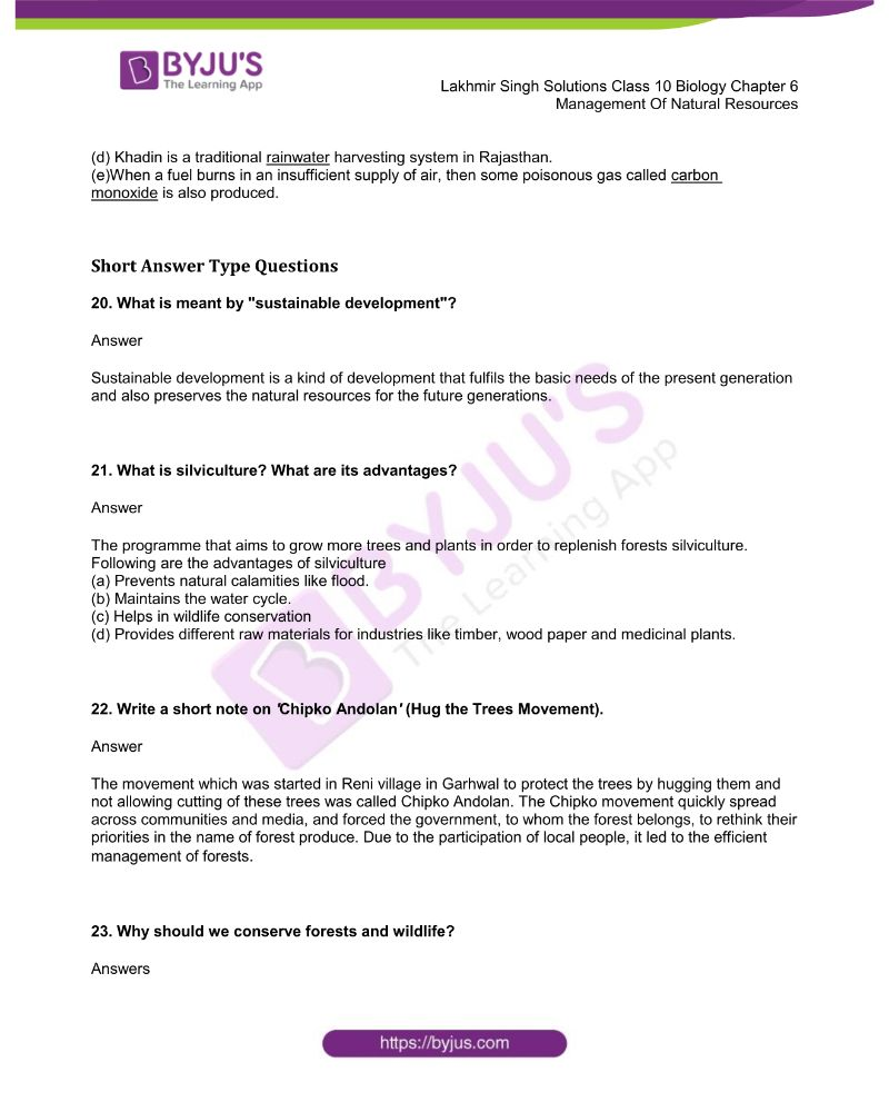 Lakhmir Singh Solutions Class 10 Biology Chapter 6 Management Of Natural Resources 4