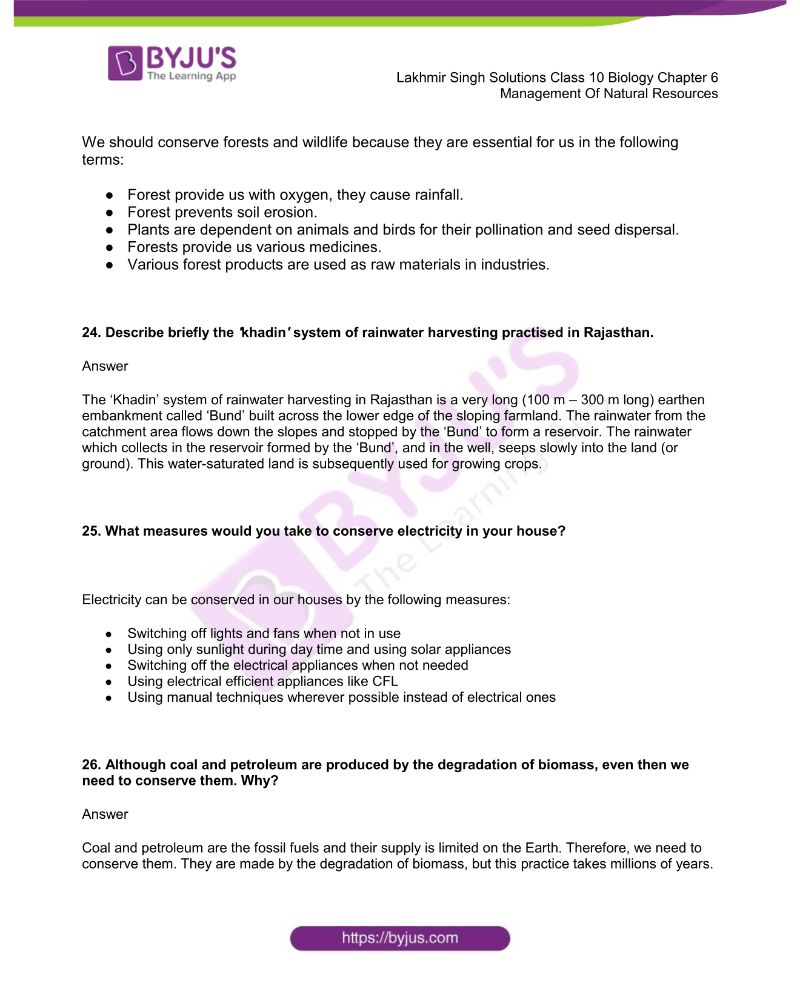Lakhmir Singh Solutions Class 10 Biology Chapter 6 Management Of Natural Resources 5